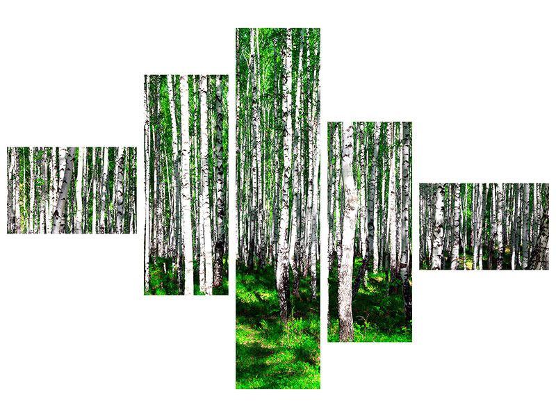 Klebeposter 5-teilig modern Sommerlicher Birkenwald