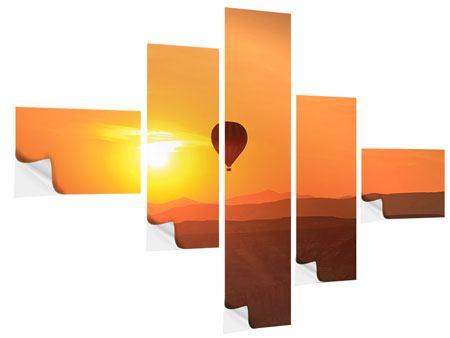Klebeposter 5-teilig modern Heissluftballon bei Sonnenuntergang