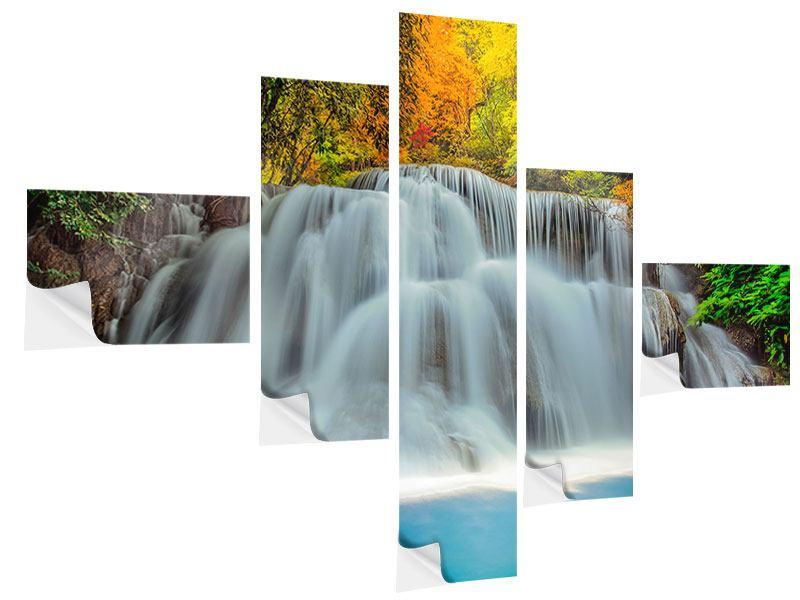 Klebeposter 5-teilig modern Fallendes Gewässer
