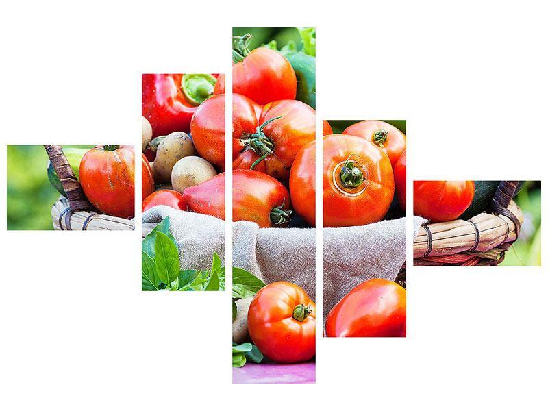 Klebeposter 5-teilig modern Gemüsekorb