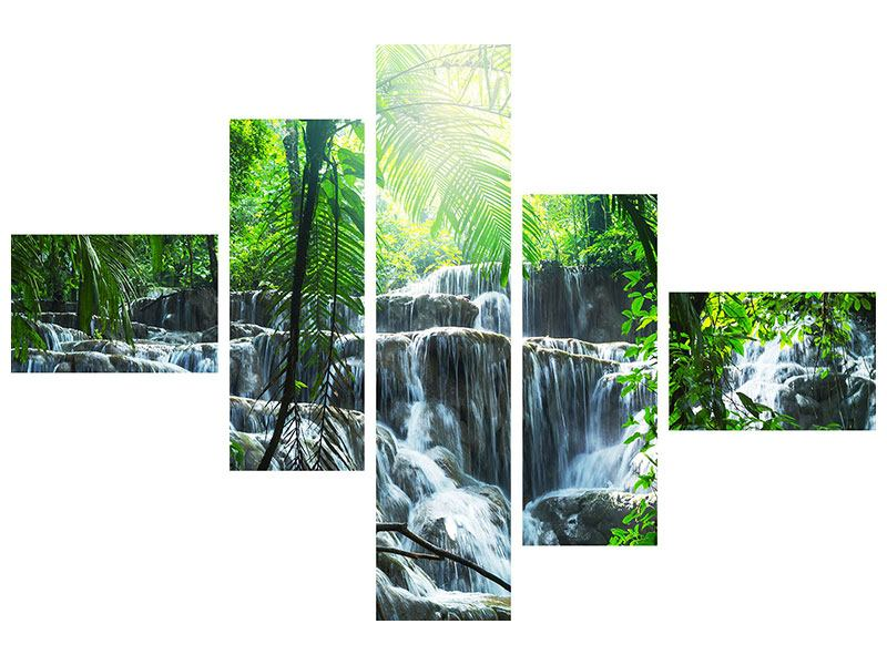 Klebeposter 5-teilig modern Wasserfall Agua Azul