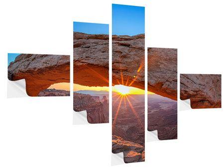 Klebeposter 5-teilig modern Sonnenuntergang am Mesa Arch