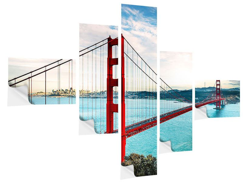 Klebeposter 5-teilig modern Golden Gate Bridge