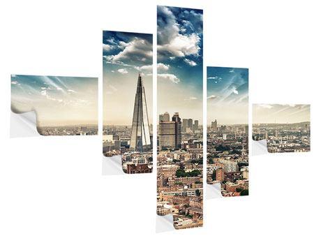 Klebeposter 5-teilig modern Skyline Über den Dächern von London