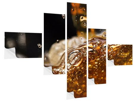 Klebeposter 5-teilig modern Cognac