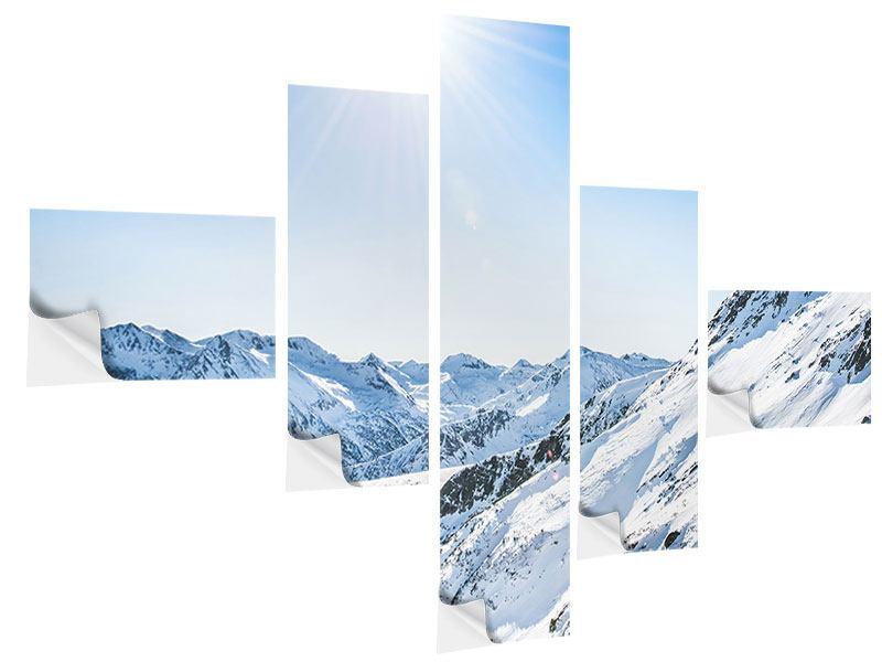 Klebeposter 5-teilig modern Bergpanorama im Schnee
