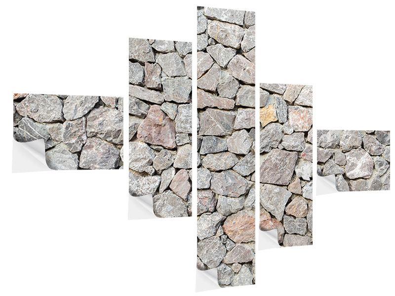 Klebeposter 5-teilig modern Grunge-Stil Mauer