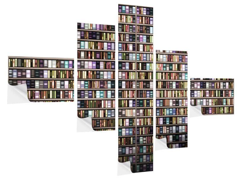 Klebeposter 5-teilig modern Bücherregal