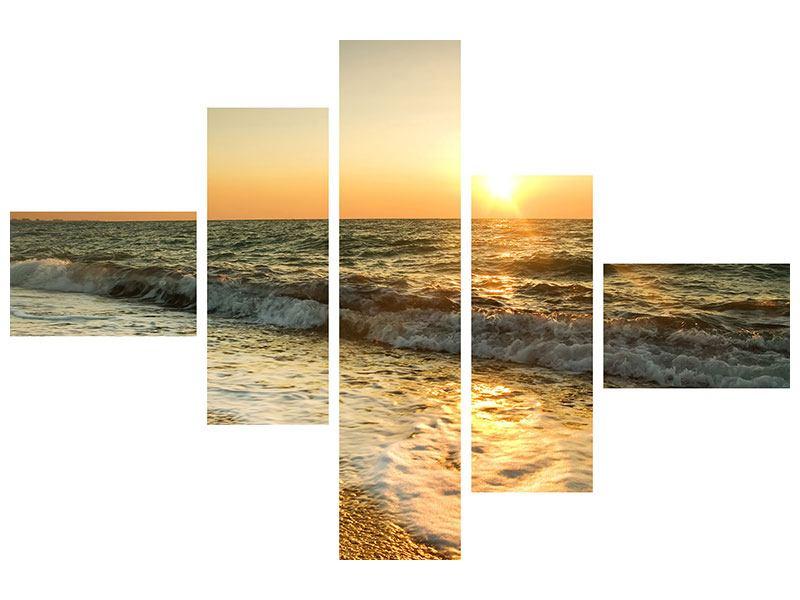 Klebeposter 5-teilig modern Sonnenuntergang am Meer