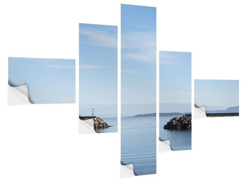 Klebeposter 5-teilig modern Hafenmauern