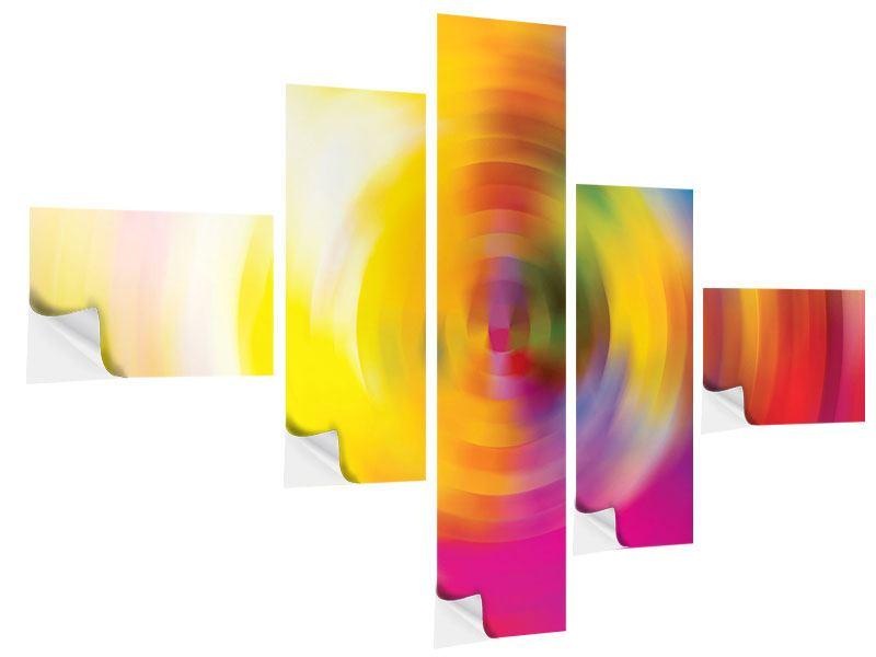 Klebeposter 5-teilig modern Abstrakte Farbkreise
