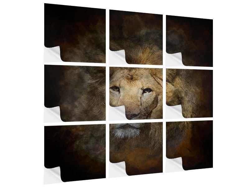 Klebeposter 9-teilig Löwenportrait