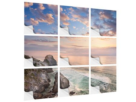 Klebeposter 9-teilig Romantischer Sonnenuntergang am Meer