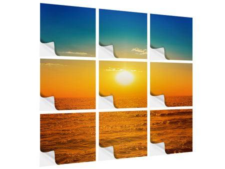 Klebeposter 9-teilig Das Meer im Sonnenuntergang