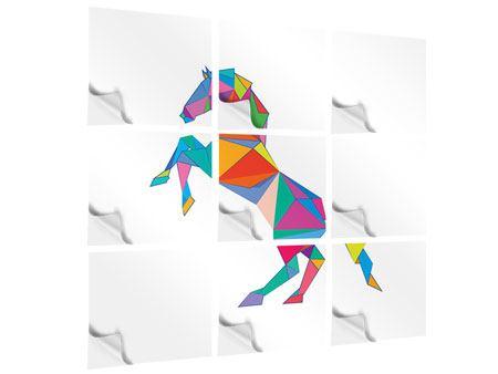 Klebeposter 9-teilig Origami Pferd