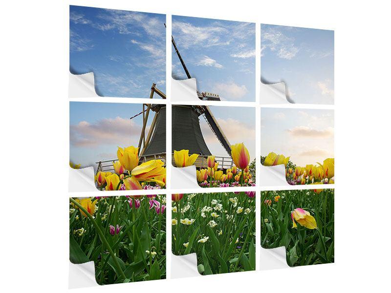 Klebeposter 9-teilig Die Windmühle mit den Tulpen