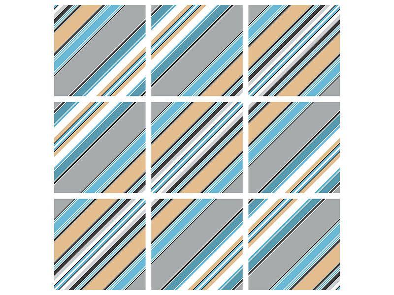 Klebeposter 9-teilig Farbstreifen
