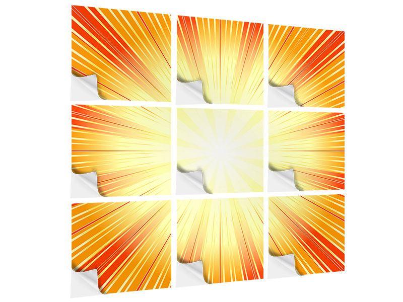Klebeposter 9-teilig Abstrakte Retro Sonne