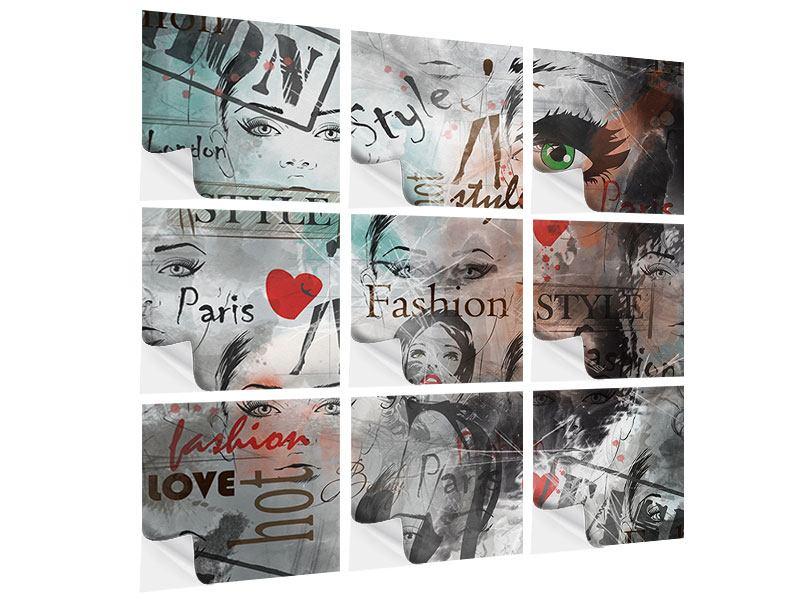Klebeposter 9-teilig I Love Paris