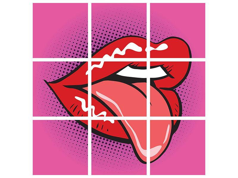 Klebeposter 9-teilig Pop Art Mund