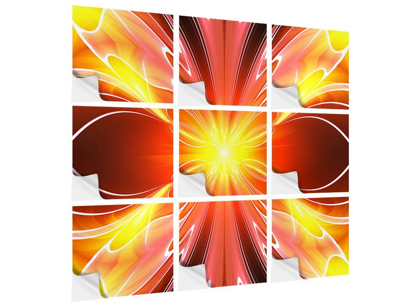 Klebeposter 9-teilig Abstraktes Farbenspektakel