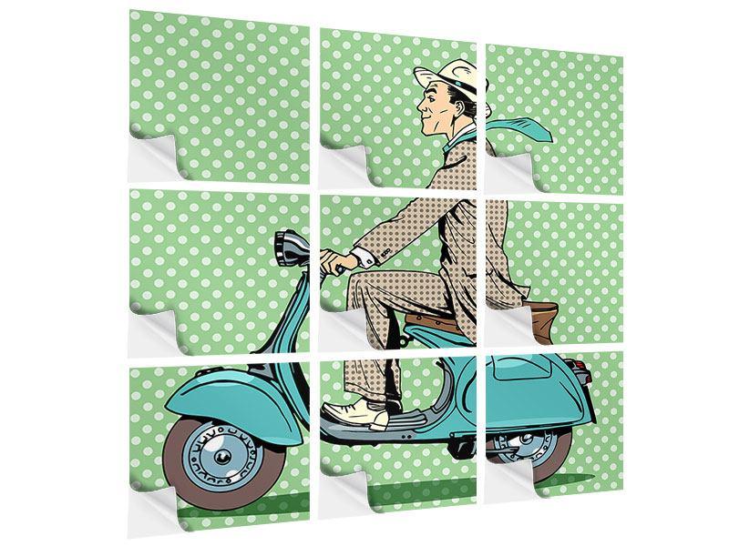 Klebeposter 9-teilig Pop Art Vespafahrer