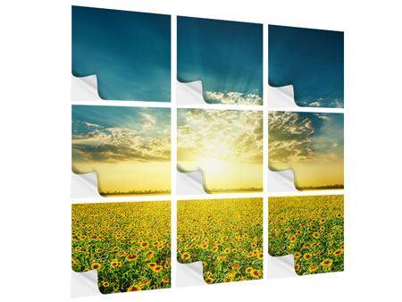 Klebeposter 9-teilig Sonnenblumen in der Abendsonne