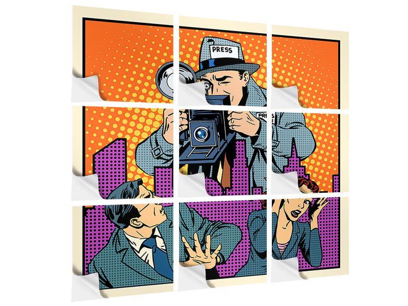 Klebeposter 9-teilig Pop Art Paparazzi