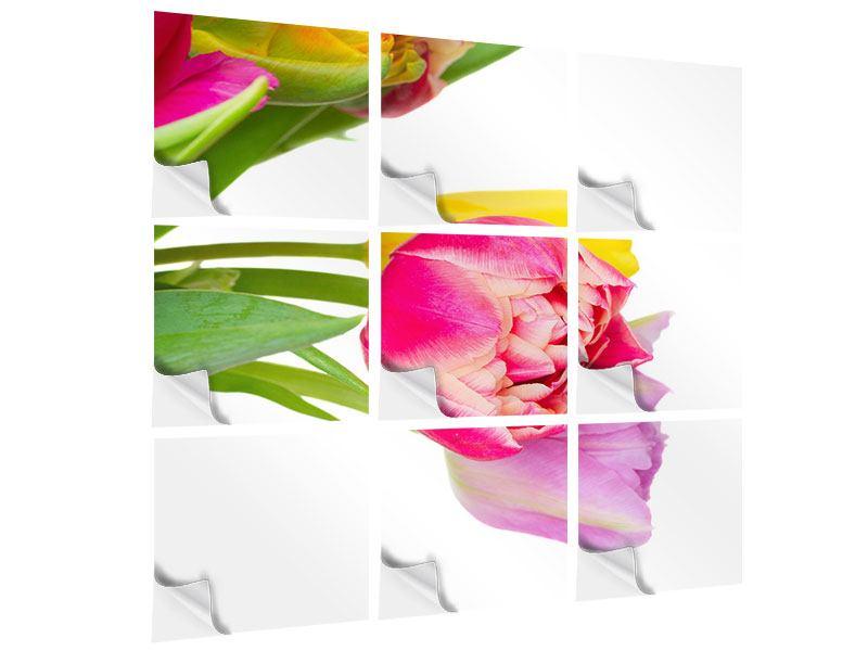 Klebeposter 9-teilig Ein bunter Tulpenstrauss