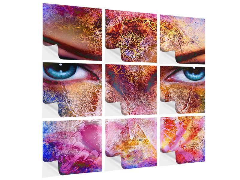 Klebeposter 9-teilig Psychedelic Face
