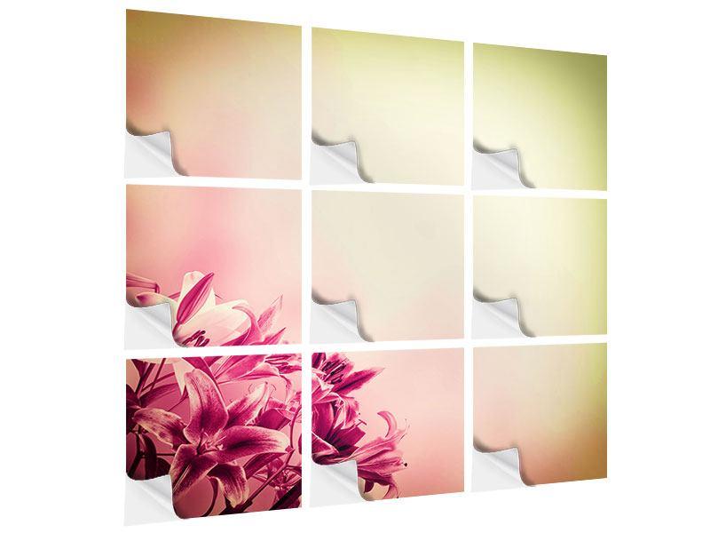 Klebeposter 9-teilig Colored Lilien