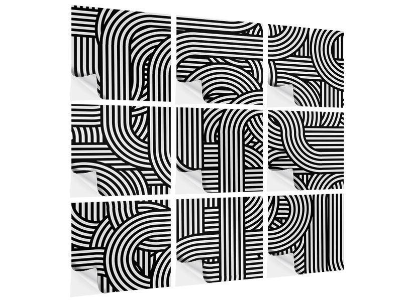Klebeposter 9-teilig 3D Black & White