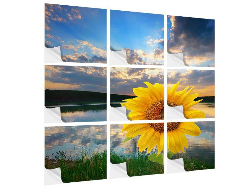 Klebeposter 9-teilig Sonnenblume am See