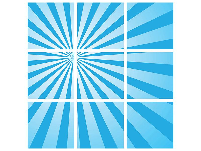 Klebeposter 9-teilig Retrowelle Streifenperspektive