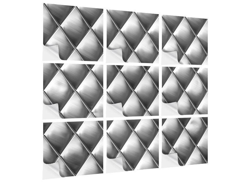 Klebeposter 9-teilig 3D-Rauten Silbergrau