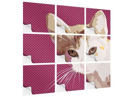 Klebeposter 9-teilig Pop Art Katze