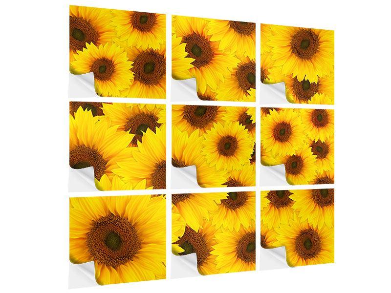 Klebeposter 9-teilig Ein Strauss Sonnenblumen