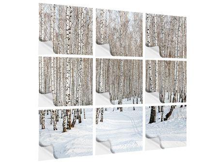 Klebeposter 9-teilig Birkenwald-Spuren im Schnee
