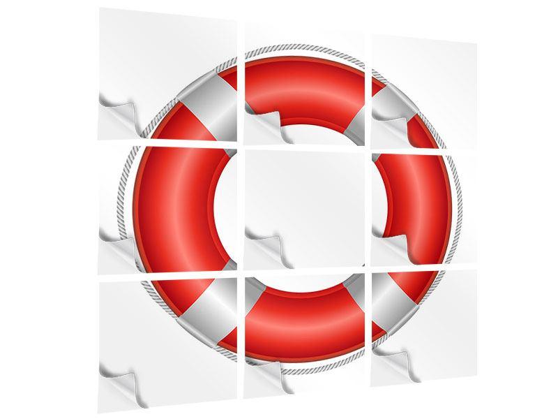 Klebeposter 9-teilig Rettungsring