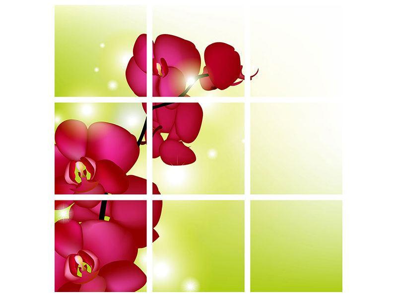 Klebeposter 9-teilig Heiligtum der Orchidee