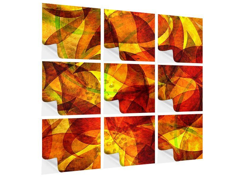 Klebeposter 9-teilig Abstraktes Gemälde