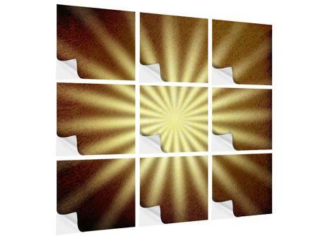 Klebeposter 9-teilig Abstrakte Sonnenstrahlen
