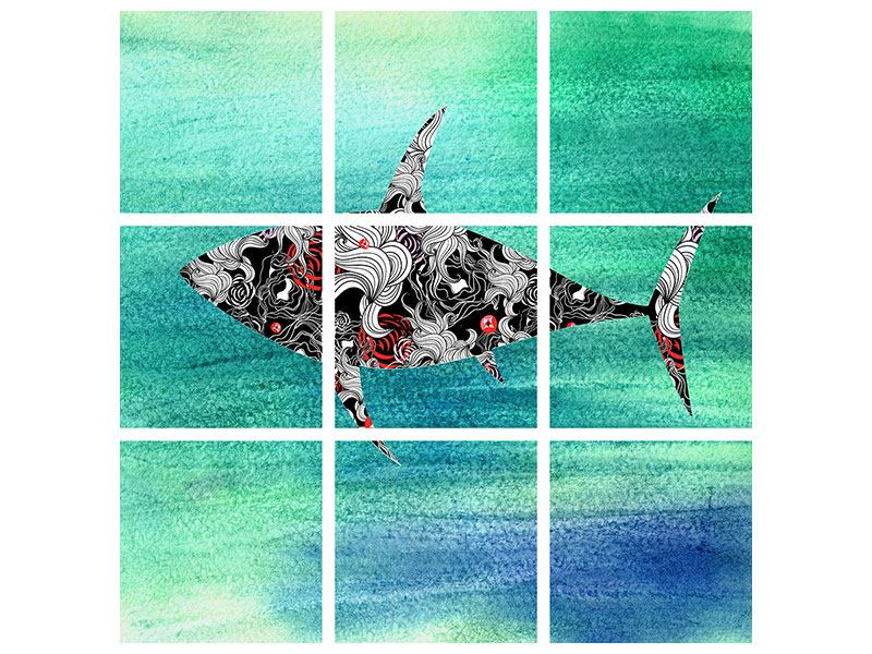 Klebeposter 9-teilig Haifisch-Ornament