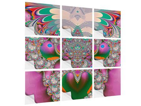 Klebeposter 9-teilig Fraktal Design