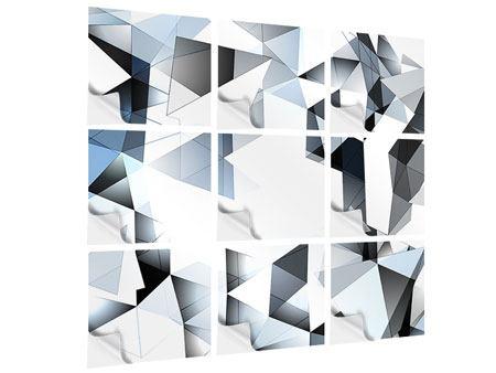 Klebeposter 9-teilig 3D-Kristalle