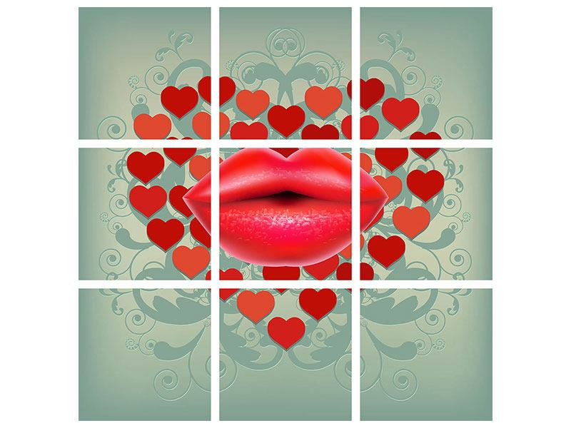 Klebeposter 9-teilig Rote Lippen soll man küssen