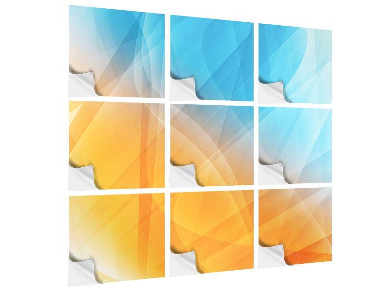 Klebeposter 9-teilig Abstrakte Fliessende Farben