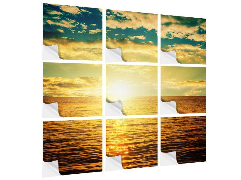 Klebeposter 9-teilig Sonnenuntergang am Meereshorizont