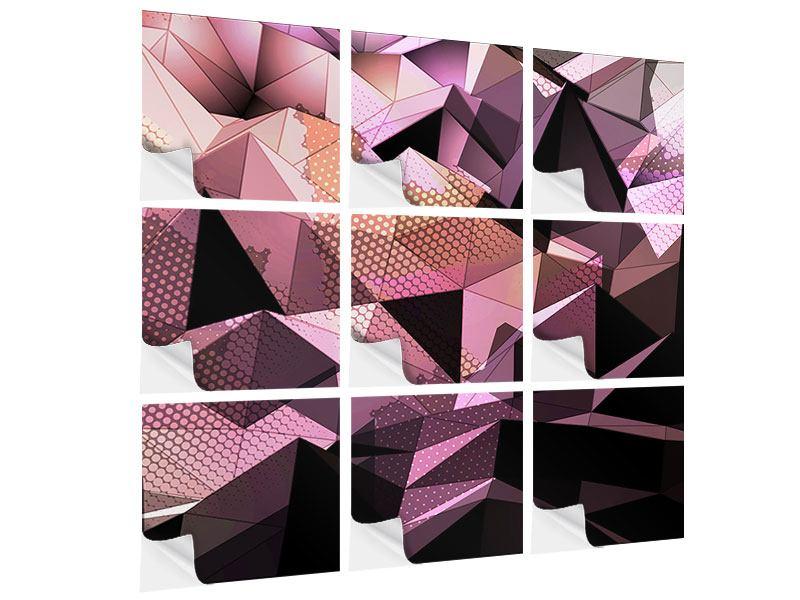 Klebeposter 9-teilig 3D-Kristallstruktur