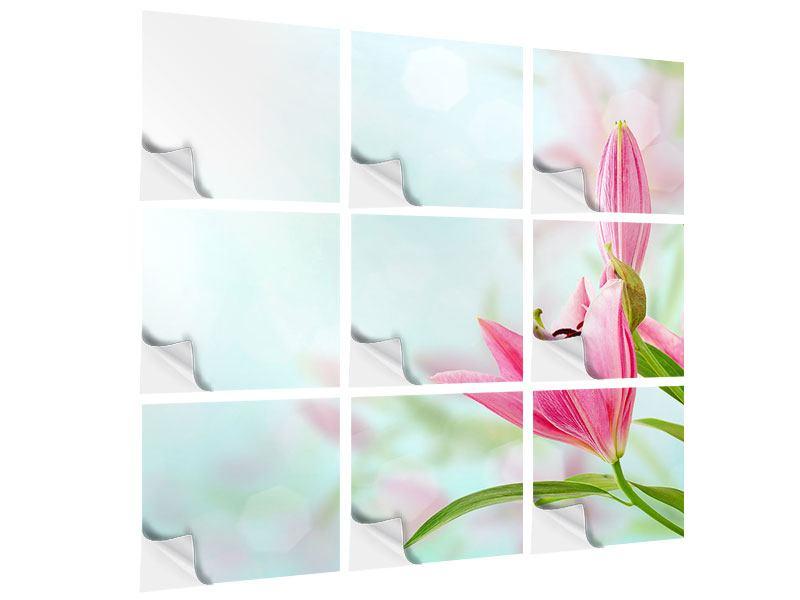 Klebeposter 9-teilig Romantische Lilien
